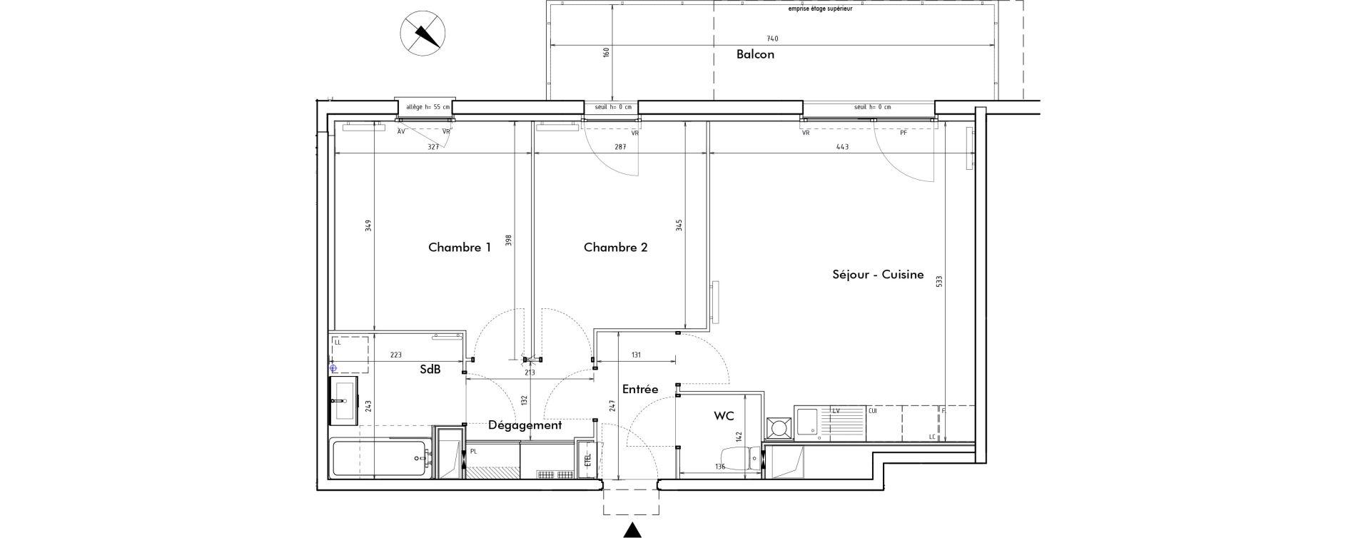 Appartement T3 de 59,40 m2 à Roncq Blanc four
