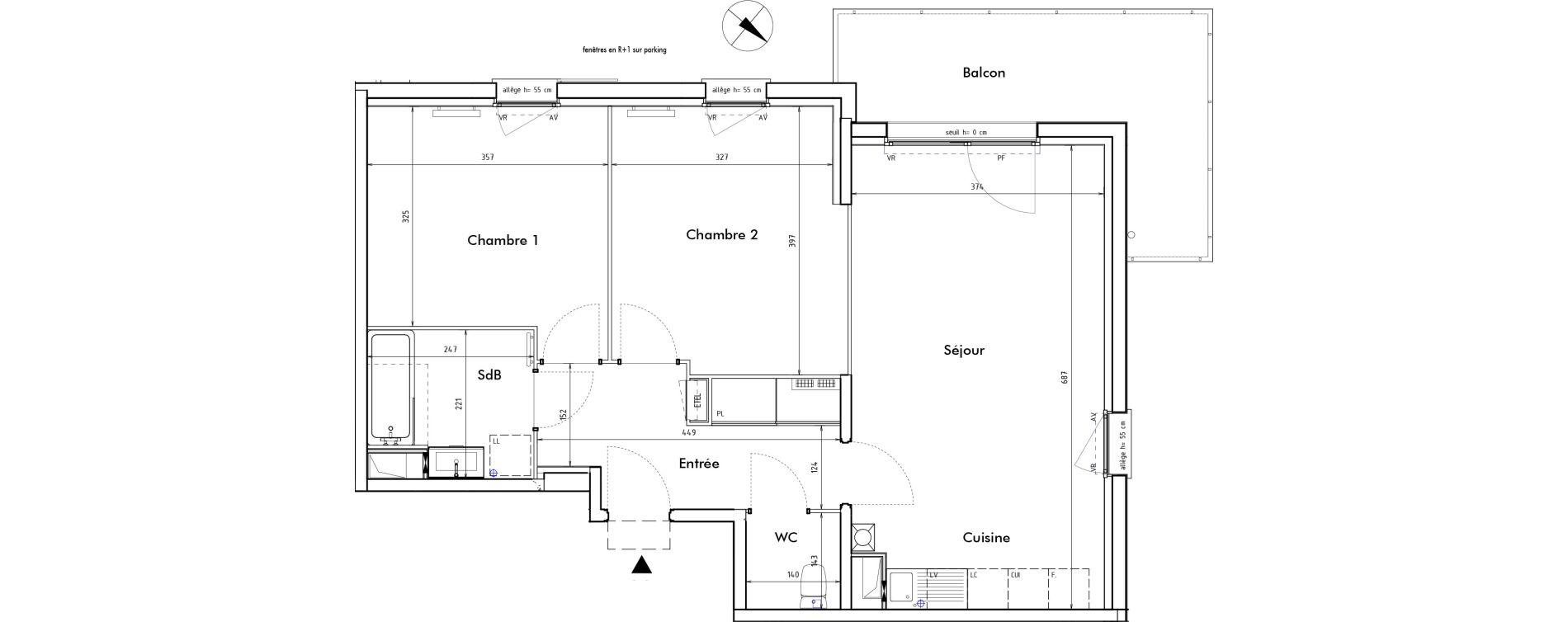 Appartement T3 de 65,80 m2 à Roncq Blanc four