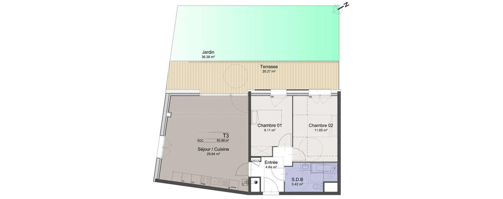 Appartement T3 de 60,86 m2 à Roubaix Roubaix vauban