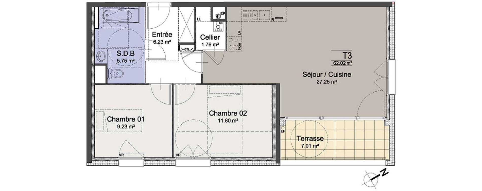 Appartement T3 de 62,02 m2 à Roubaix Roubaix vauban