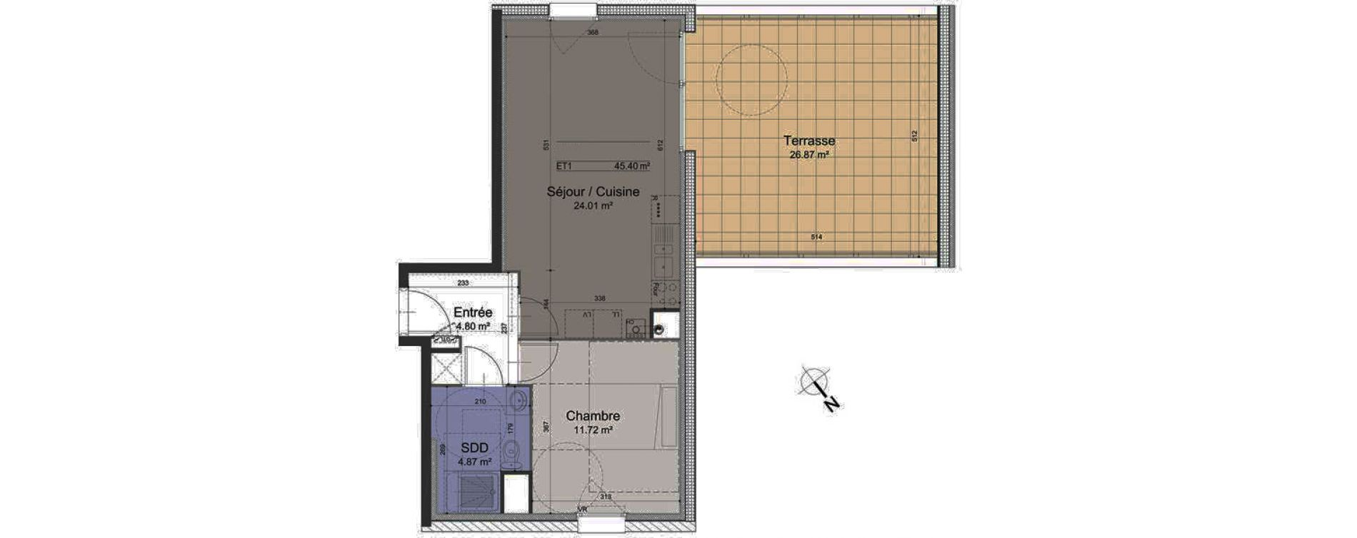 Appartement T2 de 45,40 m2 à Roubaix Roubaix vauban