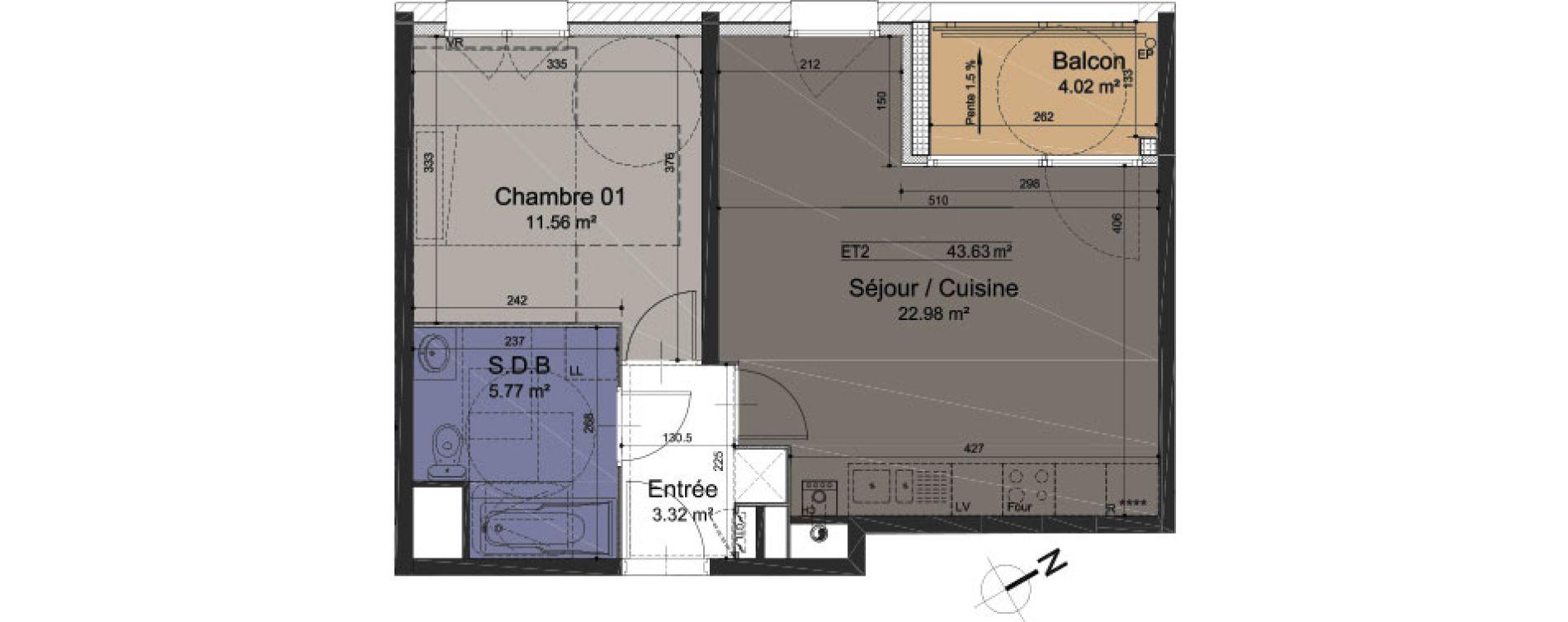 Appartement T2 de 43,63 m2 à Roubaix Roubaix vauban