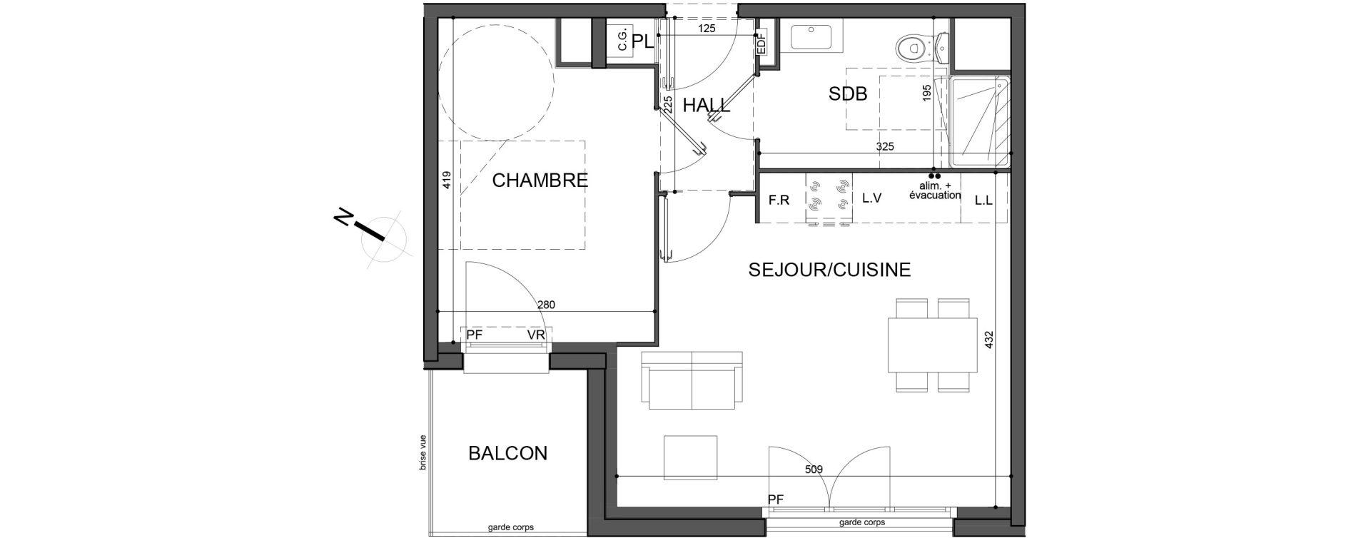 Appartement T2 de 40,00 m2 à Roubaix Fresnoy mackellerie