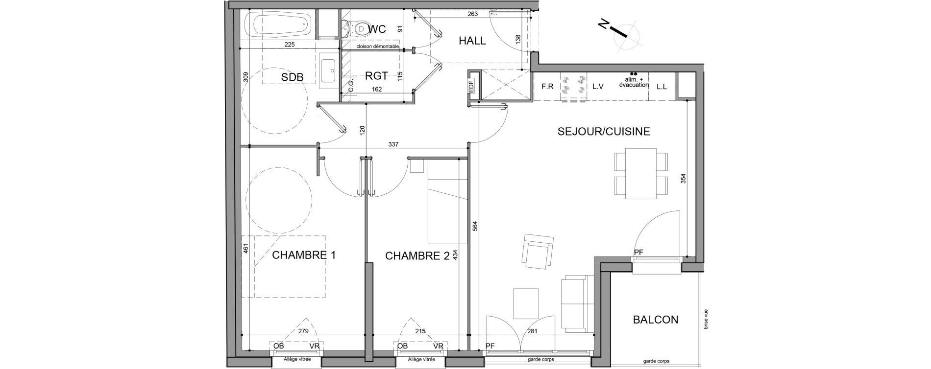 Appartement T3 de 67,20 m2 à Roubaix Fresnoy mackellerie