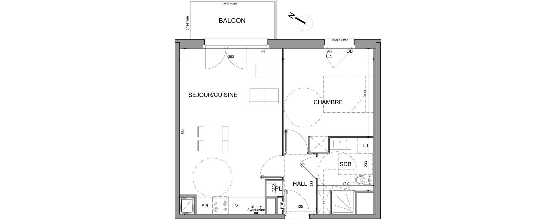 Appartement T2 de 44,60 m2 à Roubaix Fresnoy mackellerie
