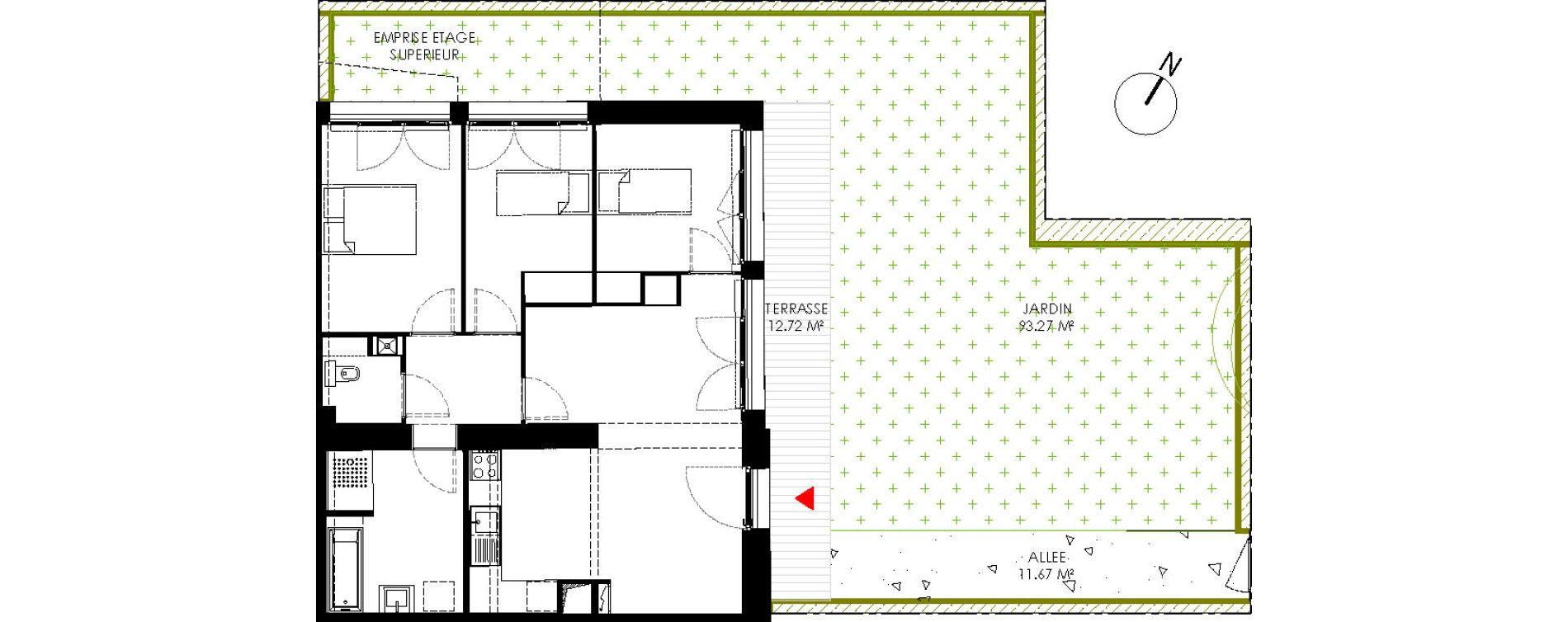 Appartement T4 de 75,46 m2 à Saint-André-Lez-Lille Centre