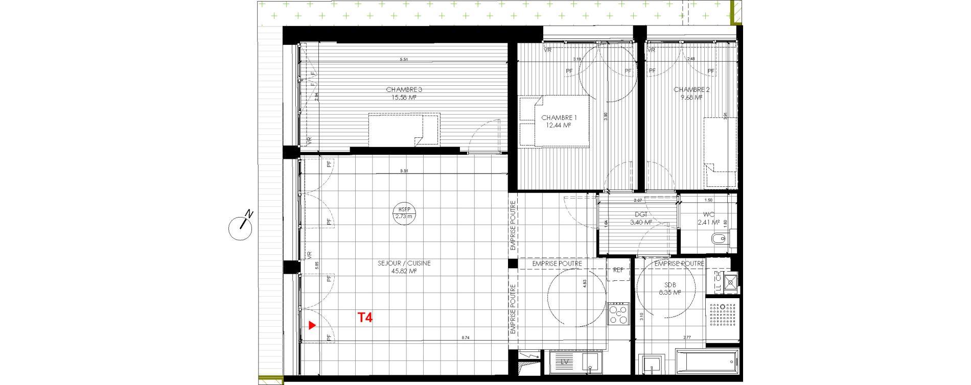 Appartement T4 de 97,68 m2 à Saint-André-Lez-Lille Centre