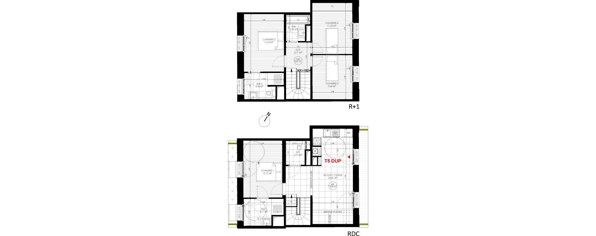 Duplex T5 de 91,04 m2 à Saint-André-Lez-Lille Centre