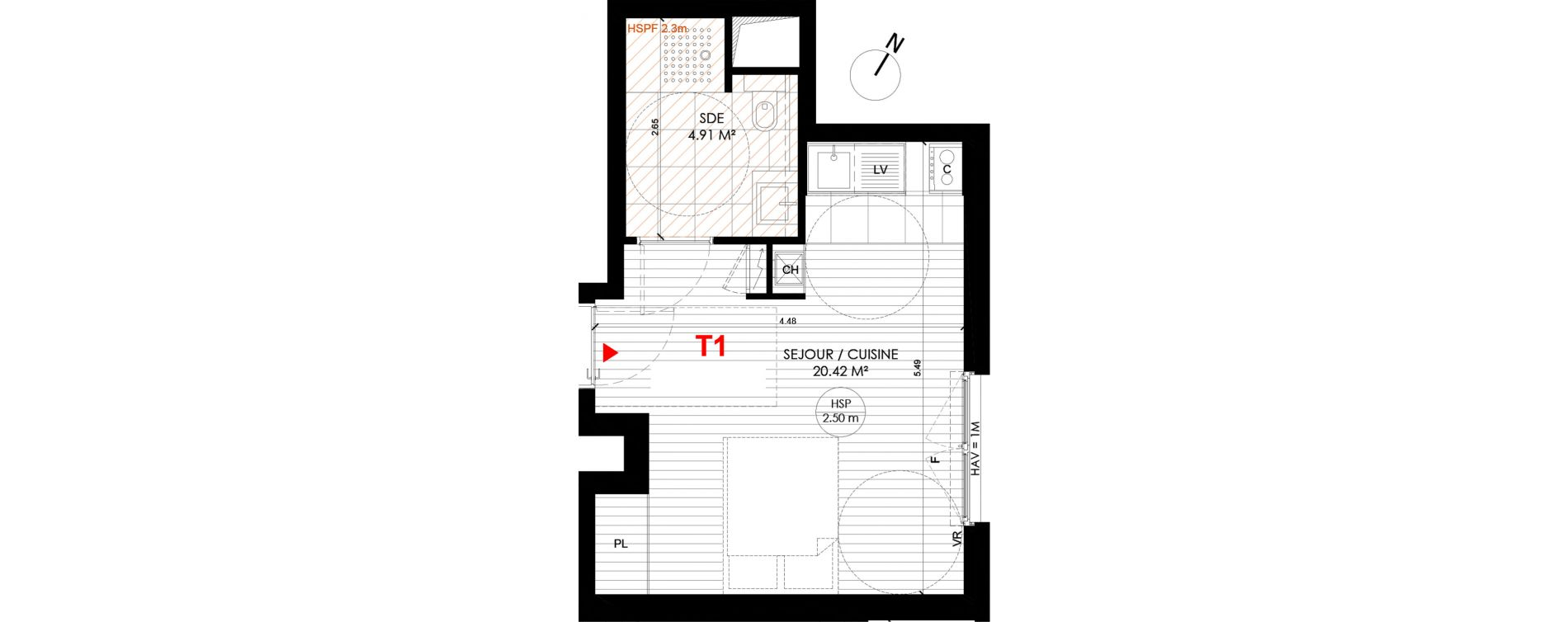 Studio de 25,32 m2 à Saint-André-Lez-Lille Centre