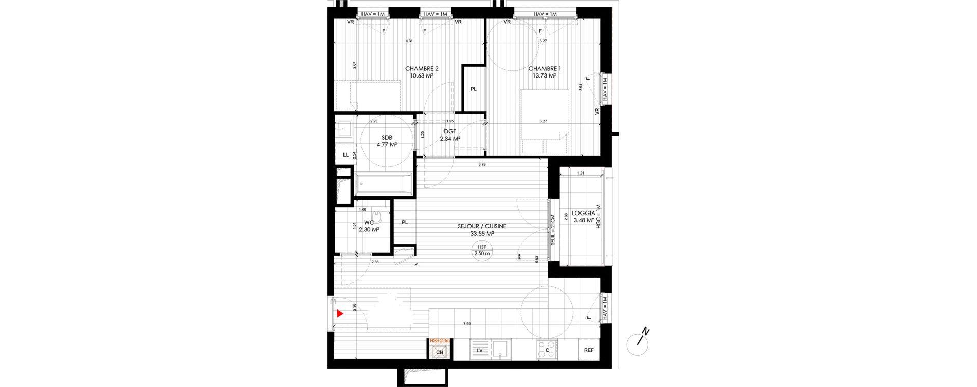 Appartement T3 de 64,38 m2 à Saint-André-Lez-Lille Centre