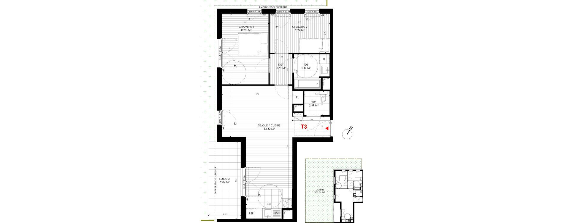 Appartement T3 de 64,12 m2 à Saint-André-Lez-Lille Centre