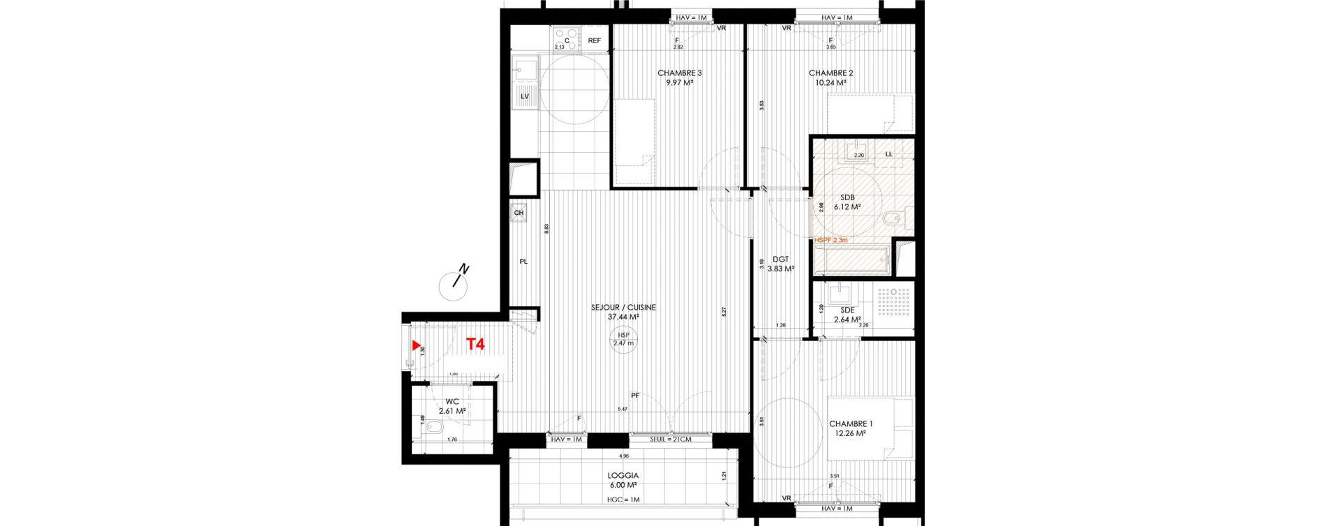 Appartement T4 de 85,07 m2 à Saint-André-Lez-Lille Centre