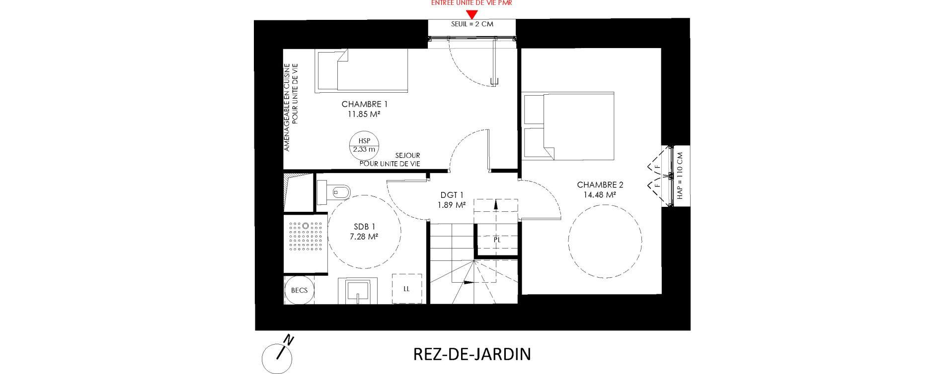 Triplex T4 de 92,80 m2 à Saint-André-Lez-Lille Centre