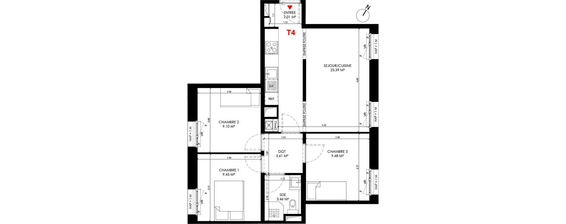 Appartement T4 de 59,70 m2 à Saint-André-Lez-Lille Centre