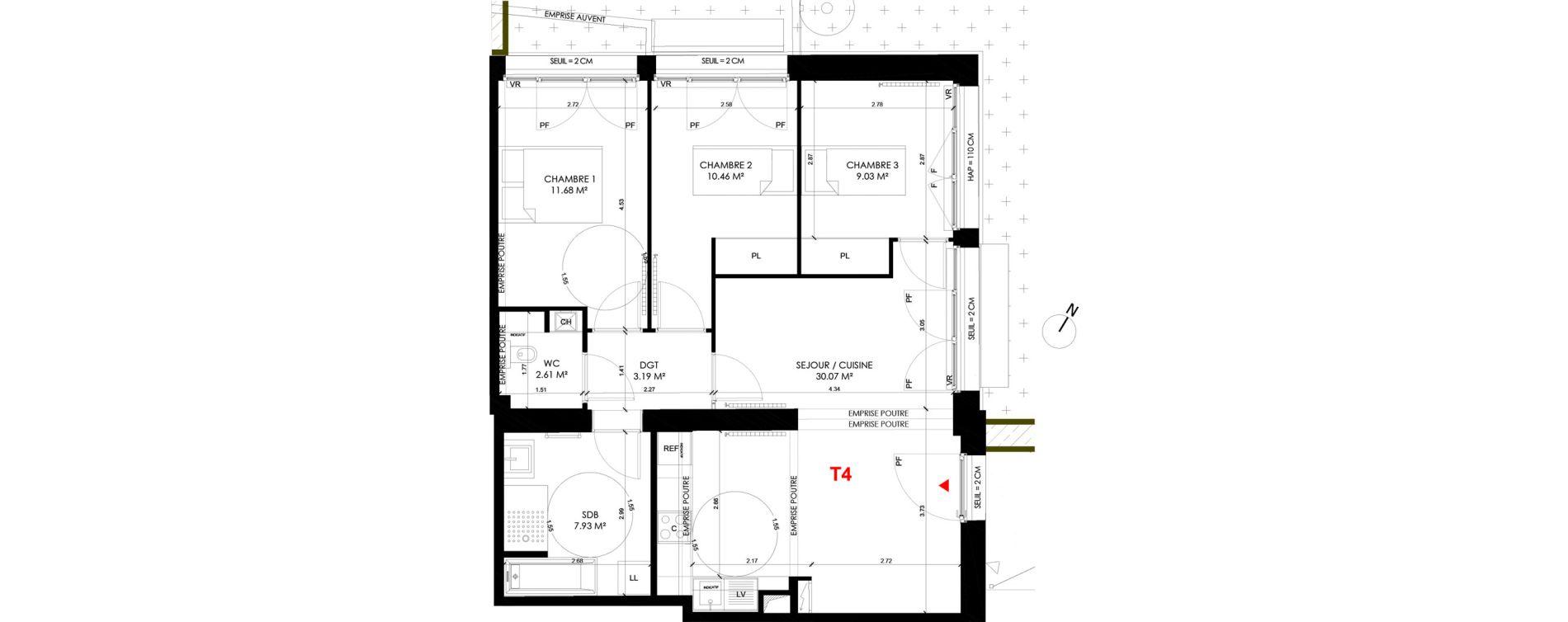 Appartement T4 de 74,57 m2 à Saint-André-Lez-Lille Centre