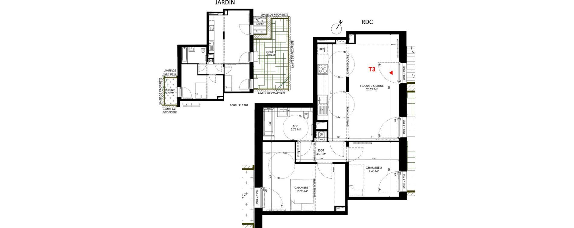 Appartement T3 de 63,64 m2 à Saint-André-Lez-Lille Centre