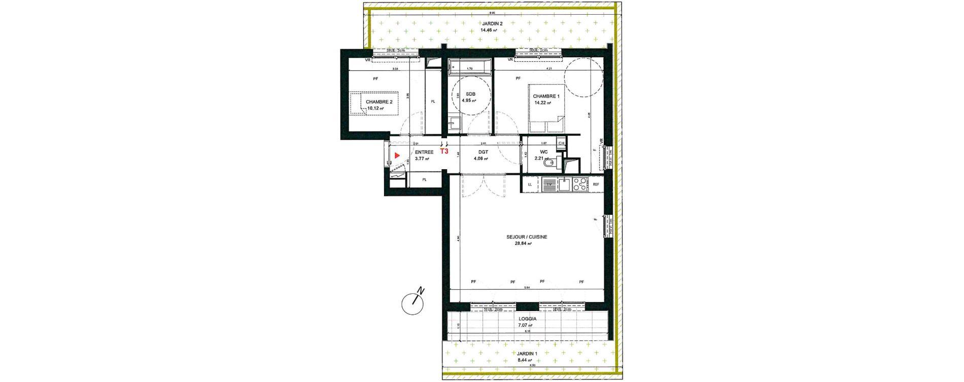 Appartement T3 de 68,19 m2 à Saint-André-Lez-Lille Centre
