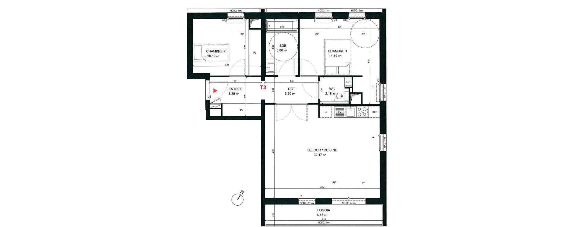 Appartement T3 de 70,30 m2 à Saint-André-Lez-Lille Centre