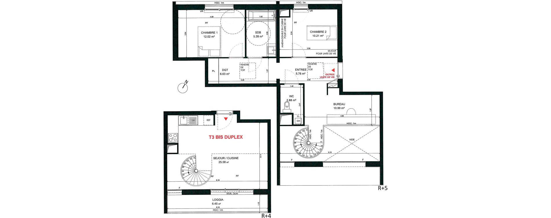 Duplex T3 bis de 79,37 m2 à Saint-André-Lez-Lille Centre