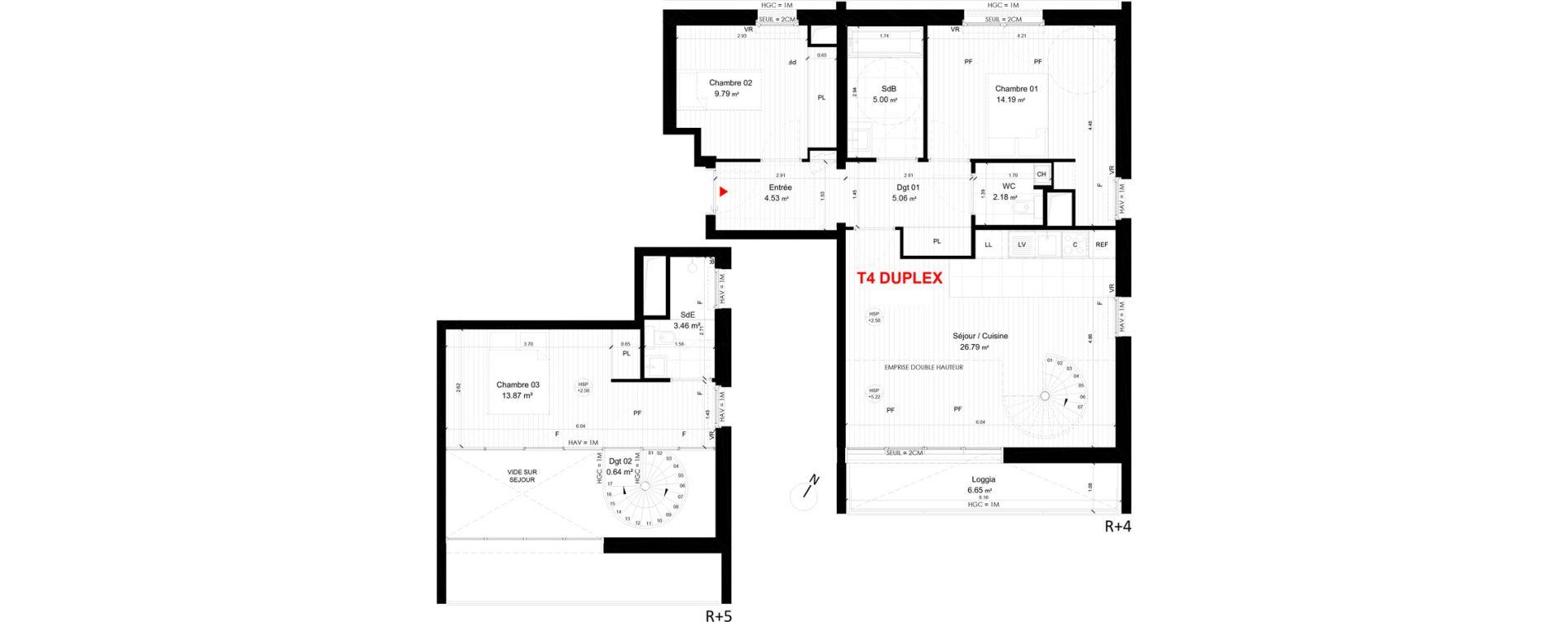 Duplex T4 de 84,05 m2 à Saint-André-Lez-Lille Centre