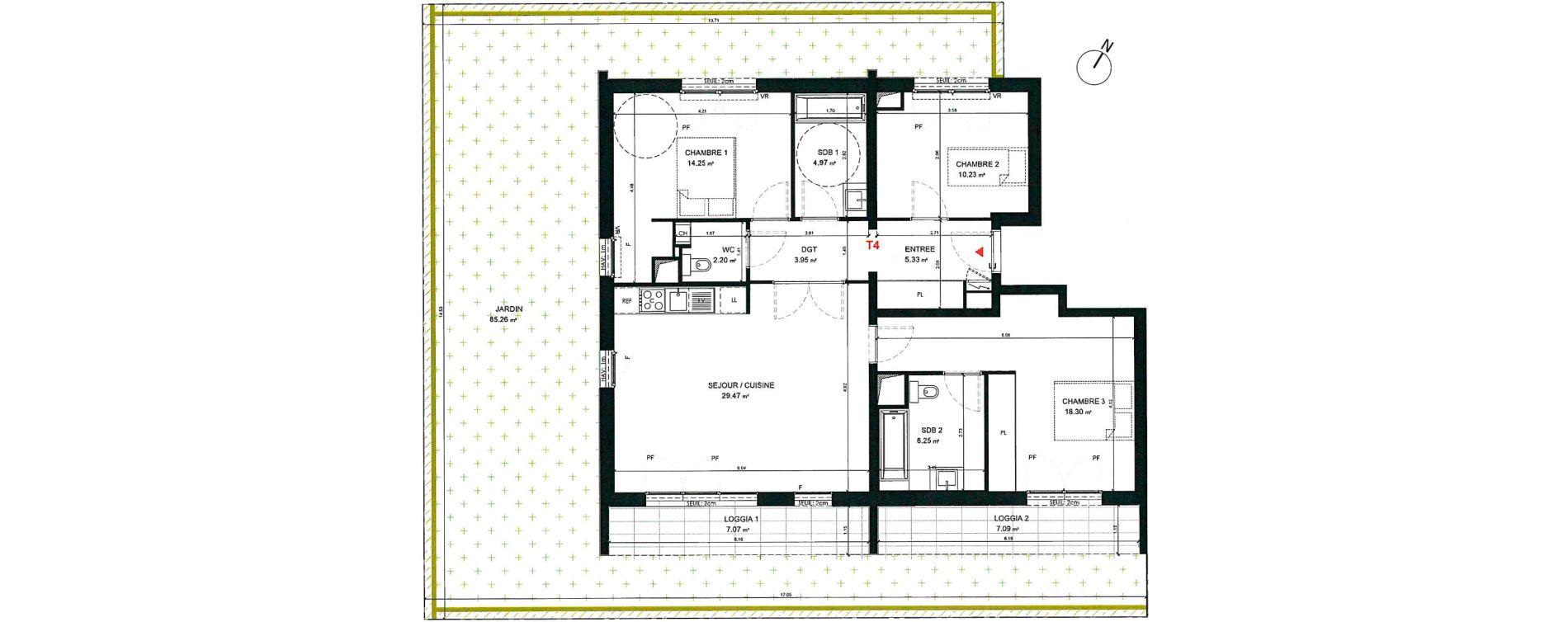 Appartement T4 de 94,95 m2 à Saint-André-Lez-Lille Centre