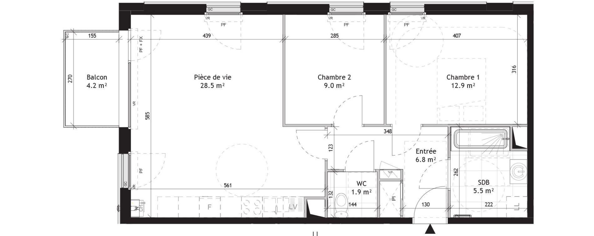 Appartement T3 de 64,60 m2 à Saint-André-Lez-Lille Quai 22