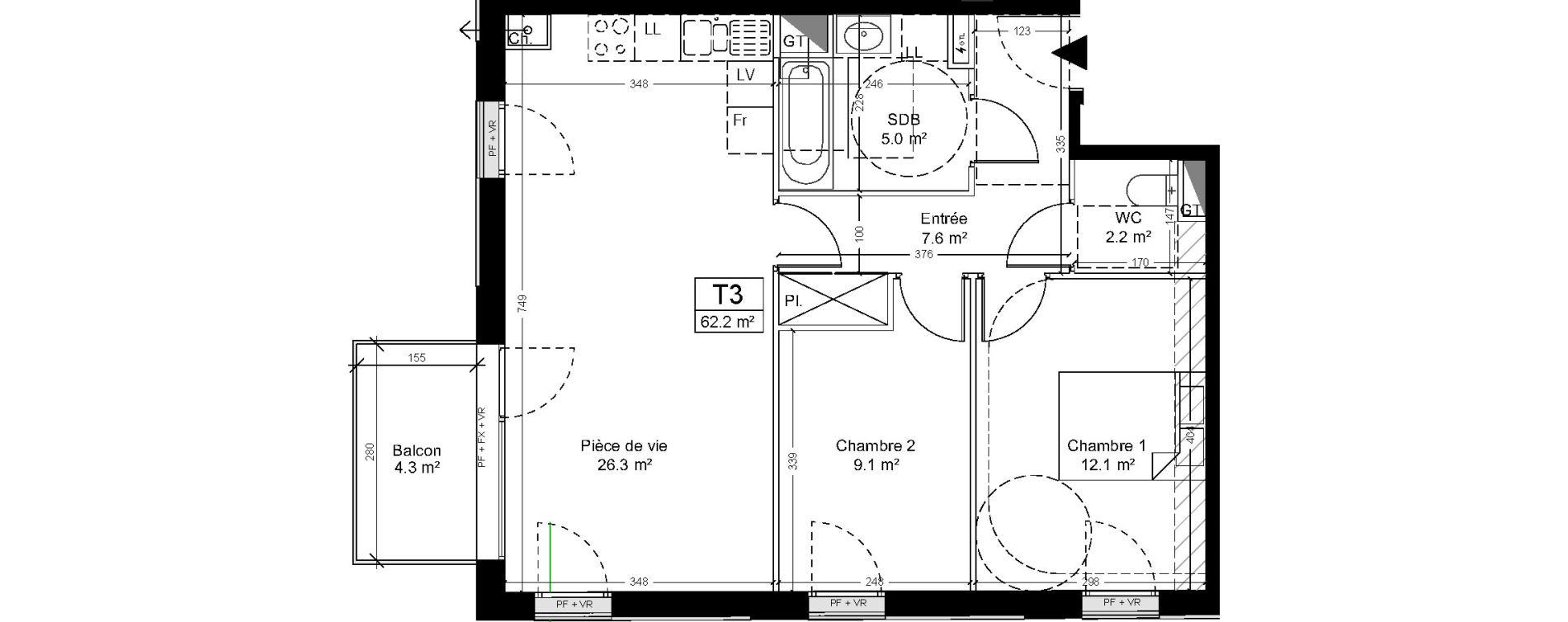 Appartement T3 de 62,20 m2 à Saint-André-Lez-Lille Quai 22