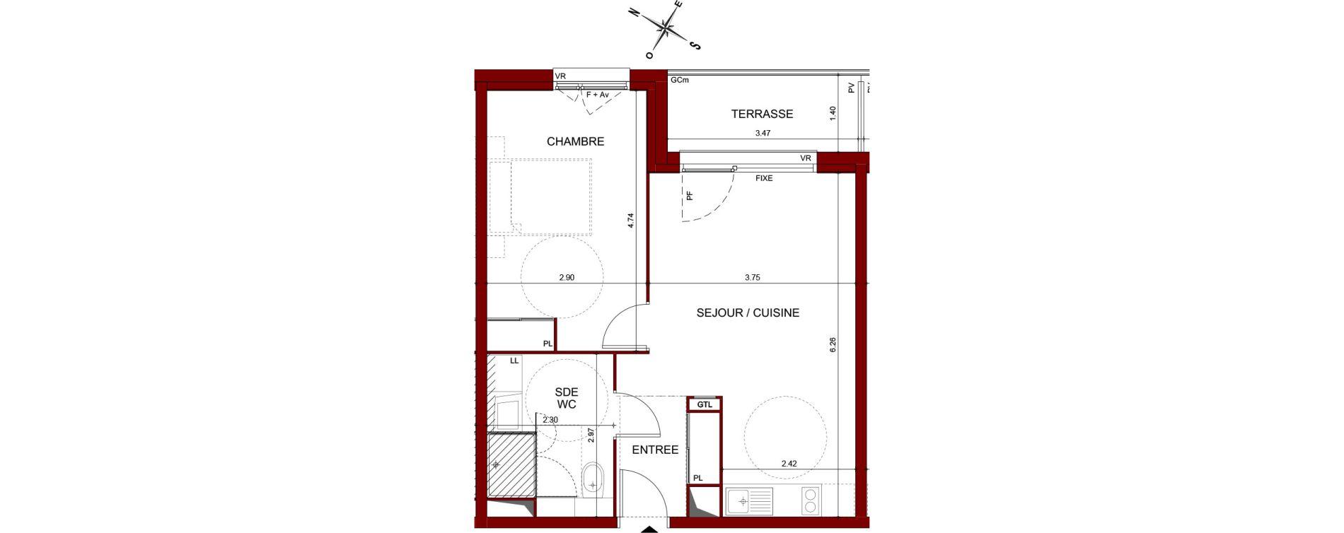 Appartement T2 de 44,60 m2 à Téteghem Centre