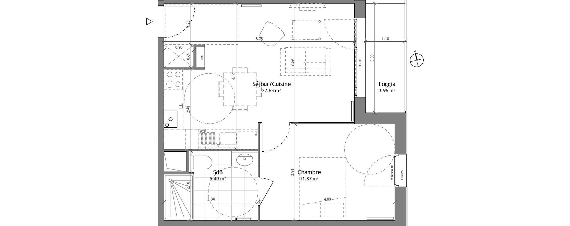 Appartement T2 de 39,90 m2 à Wattignies Centre