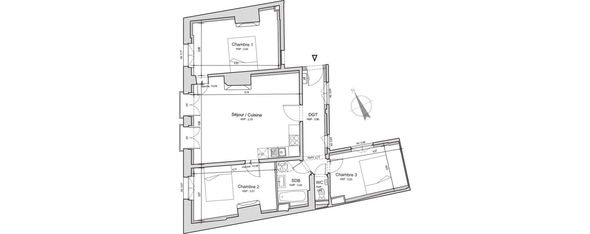 Appartement T4 de 82,45 m2 à Beauvais Centre