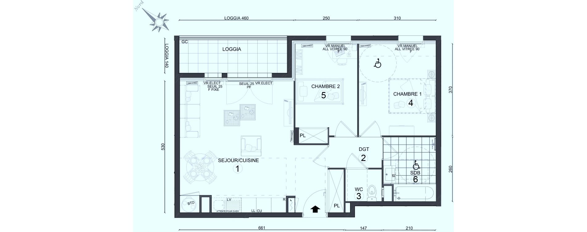 Appartement T3 de 59,30 m2 au Plessis-Belleville Centre