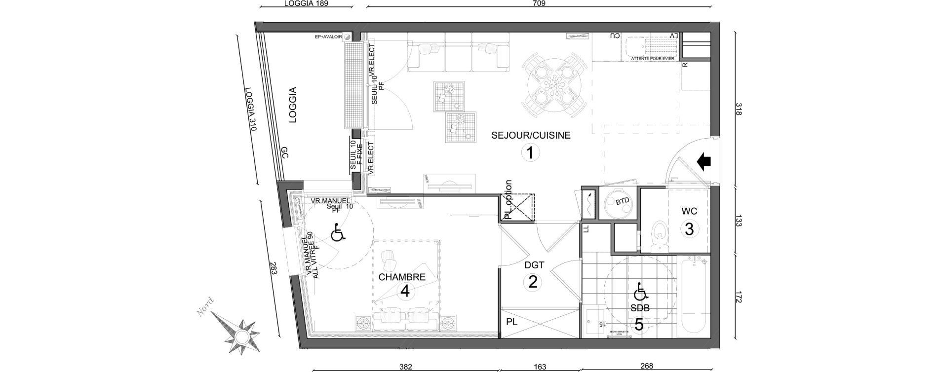 Appartement T2 de 46,35 m2 au Plessis-Belleville Centre