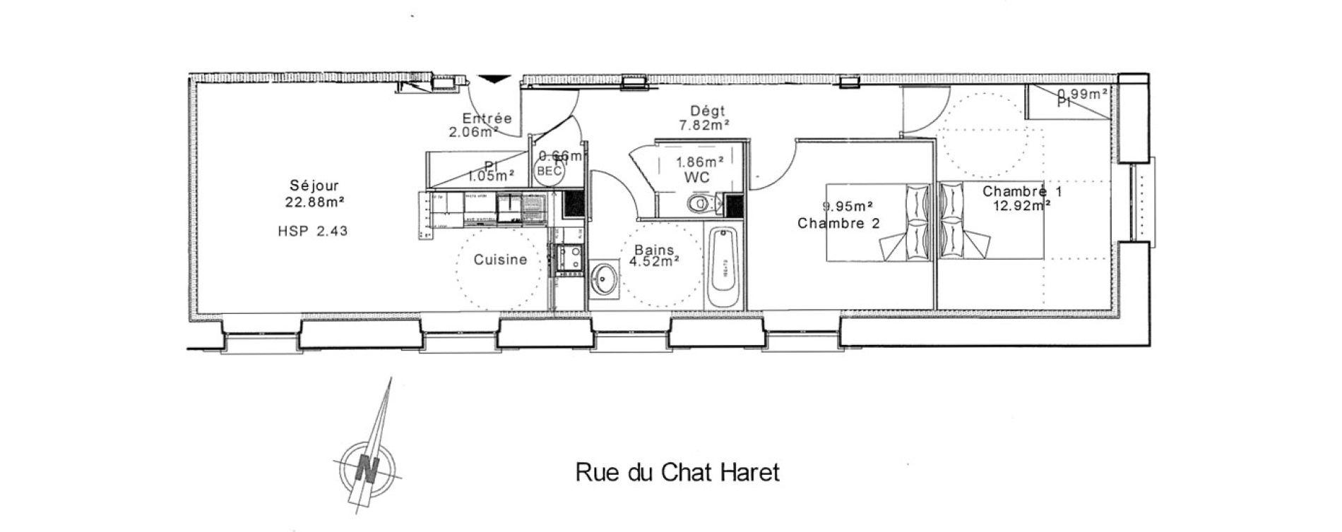 Appartement T3 de 63,90 m2 à Senlis Centre