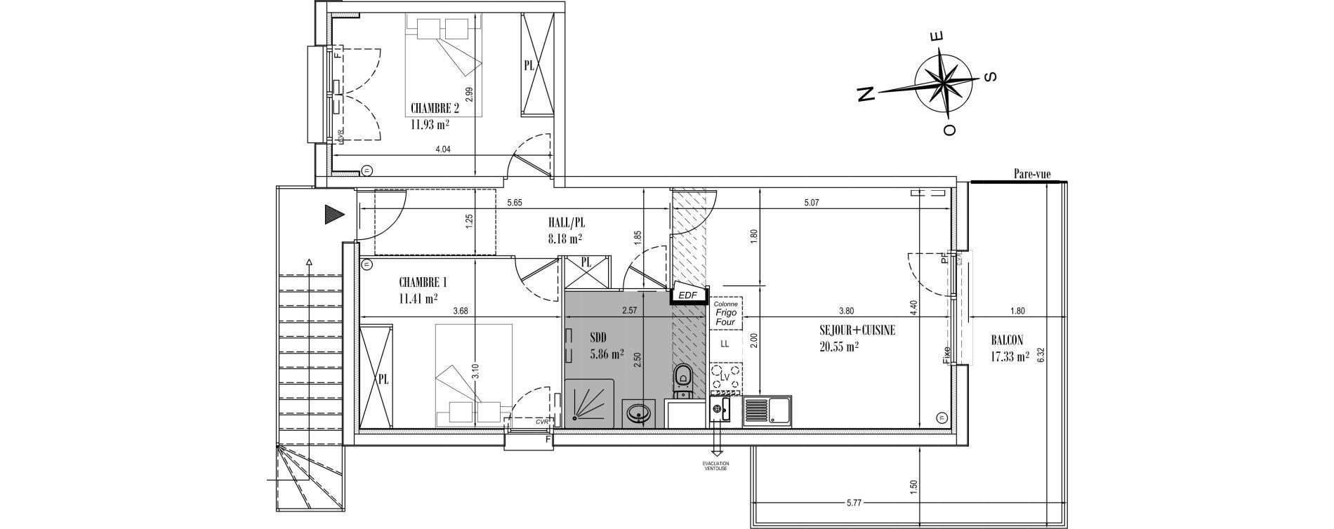 Appartement T3 de 57,93 m2 à Camiers Centre