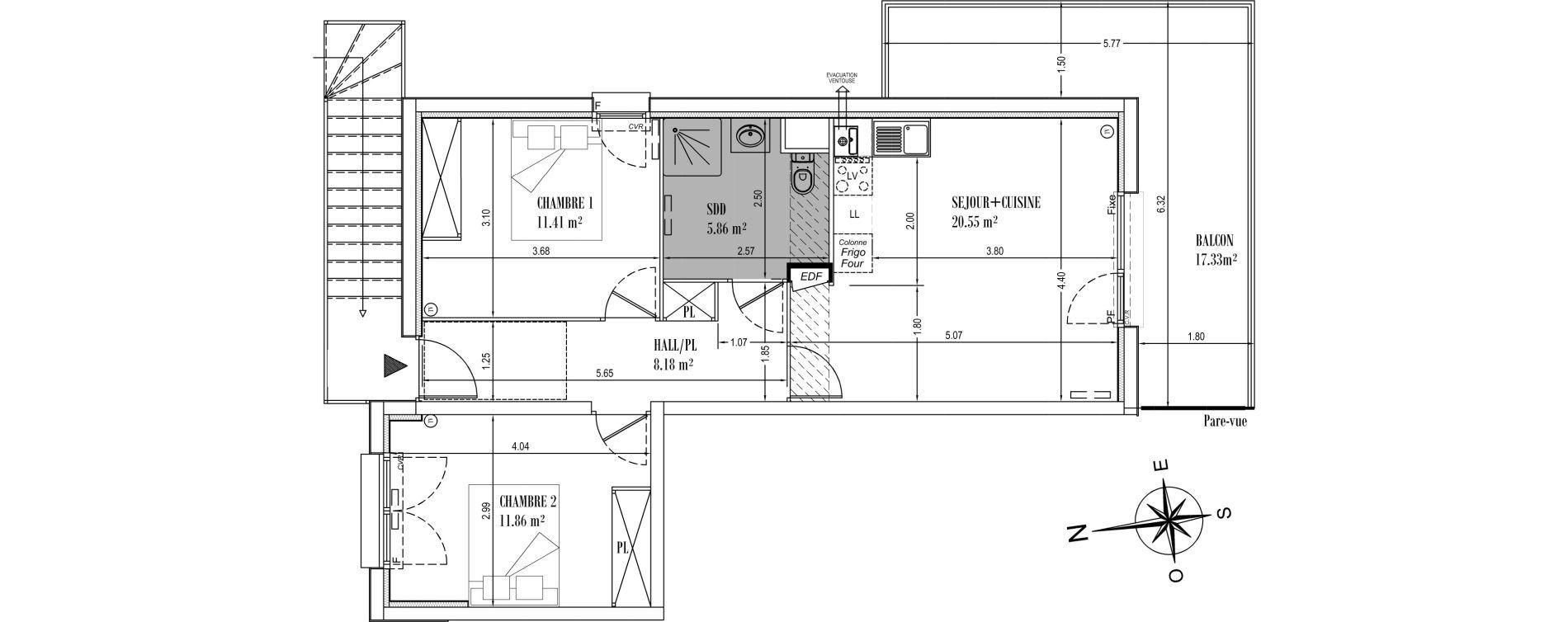 Appartement T3 de 57,86 m2 à Camiers Centre
