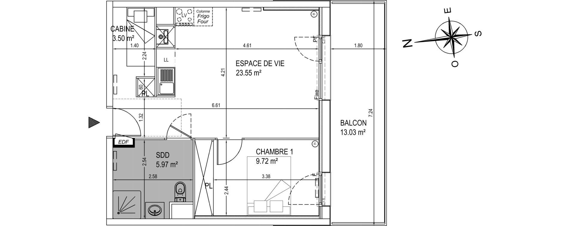 Appartement T2 de 42,74 m2 à Camiers Centre