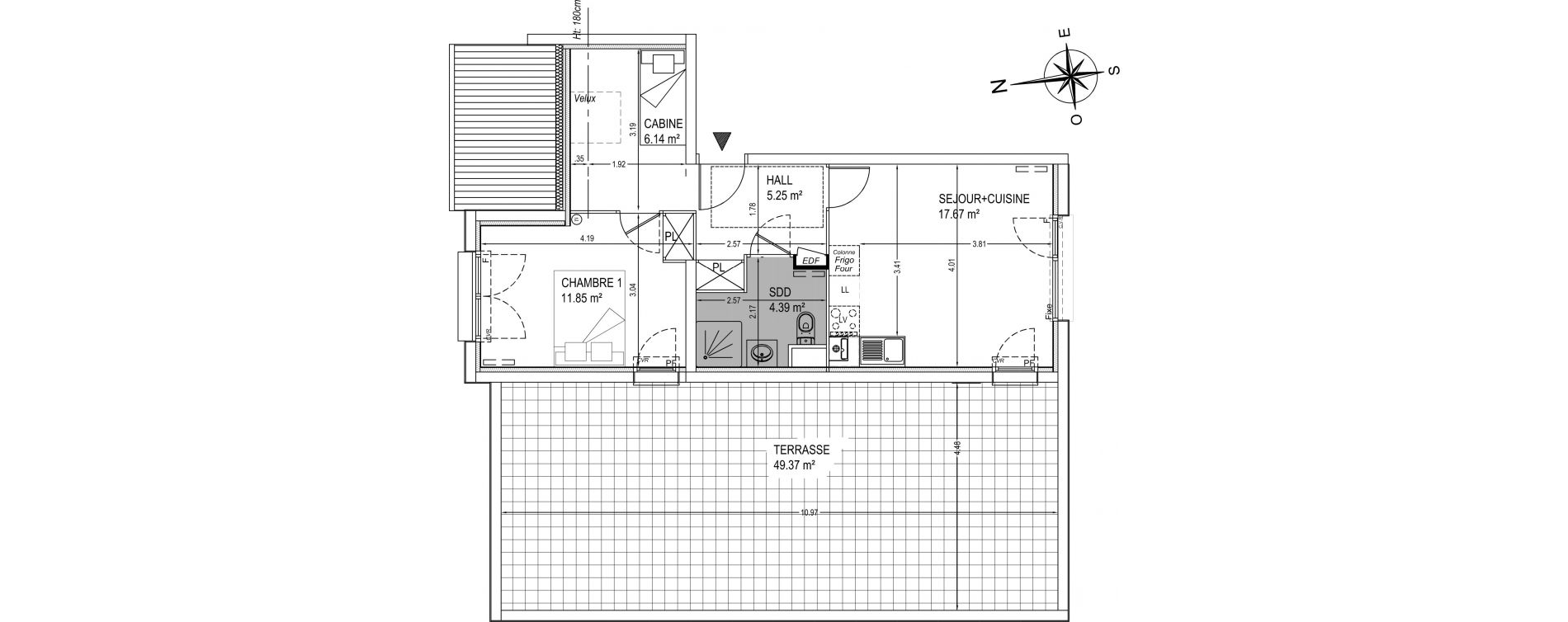 Appartement T2 de 45,30 m2 à Camiers Centre