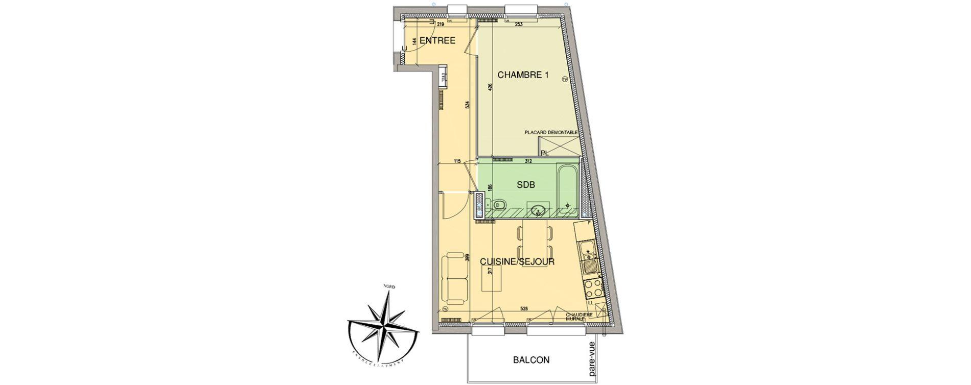 Appartement T2 de 41,90 m2 à Cucq Stella plage