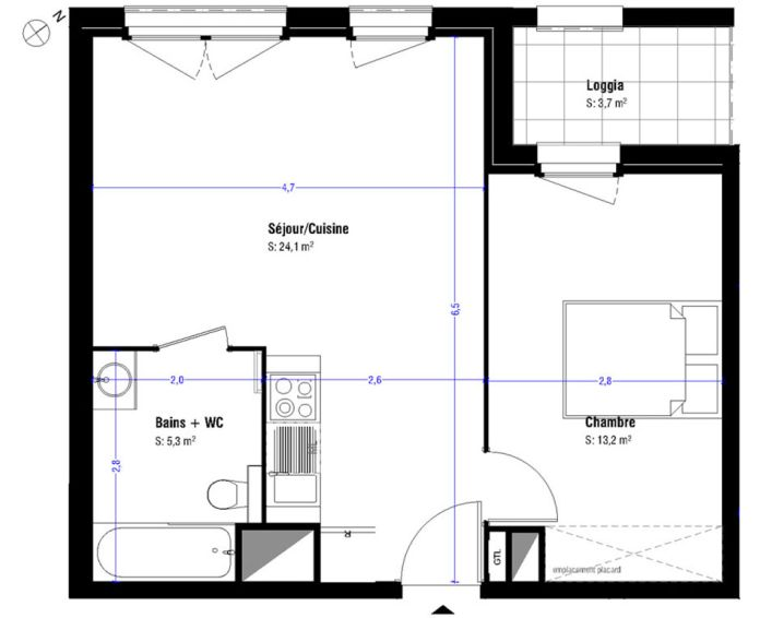 Appartement t2 lens n 232 nord ouest programme for Appartement nord ouest