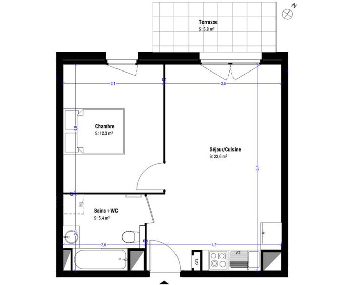 Appartement t2 lens n 342 nord ouest programme for Appartement nord ouest