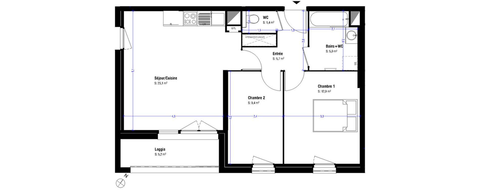 Appartement T3 De 57 50m2 1er étage Se Luminesens 3 Ilôt A