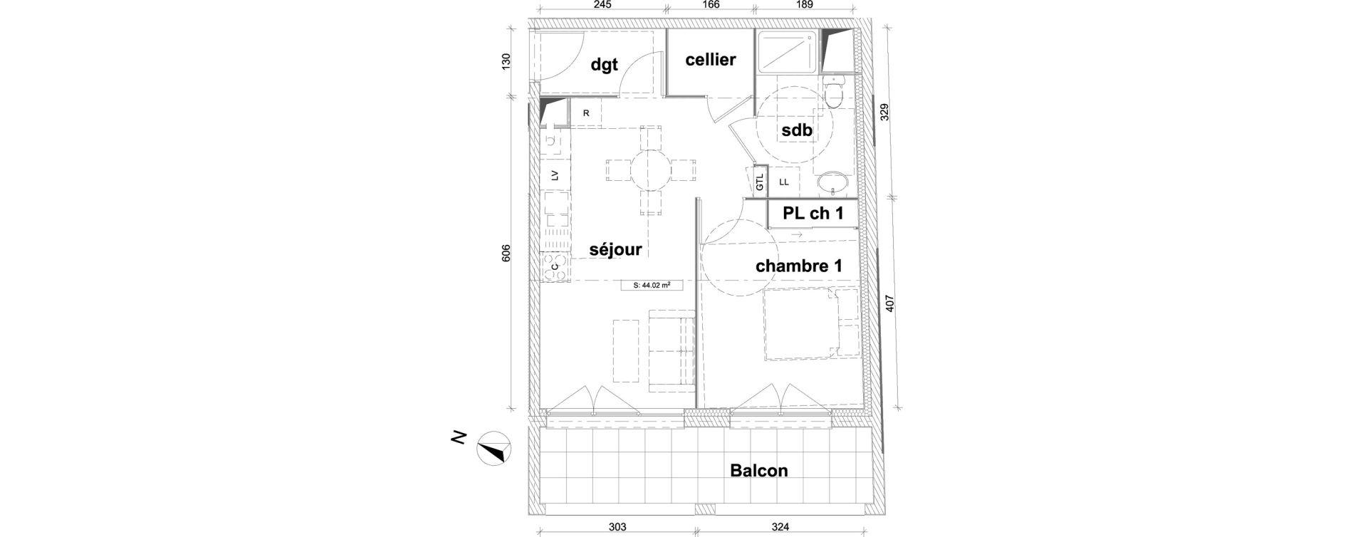 Appartement T2 de 44,02 m2 à Saint-Laurent-Blangy Centre