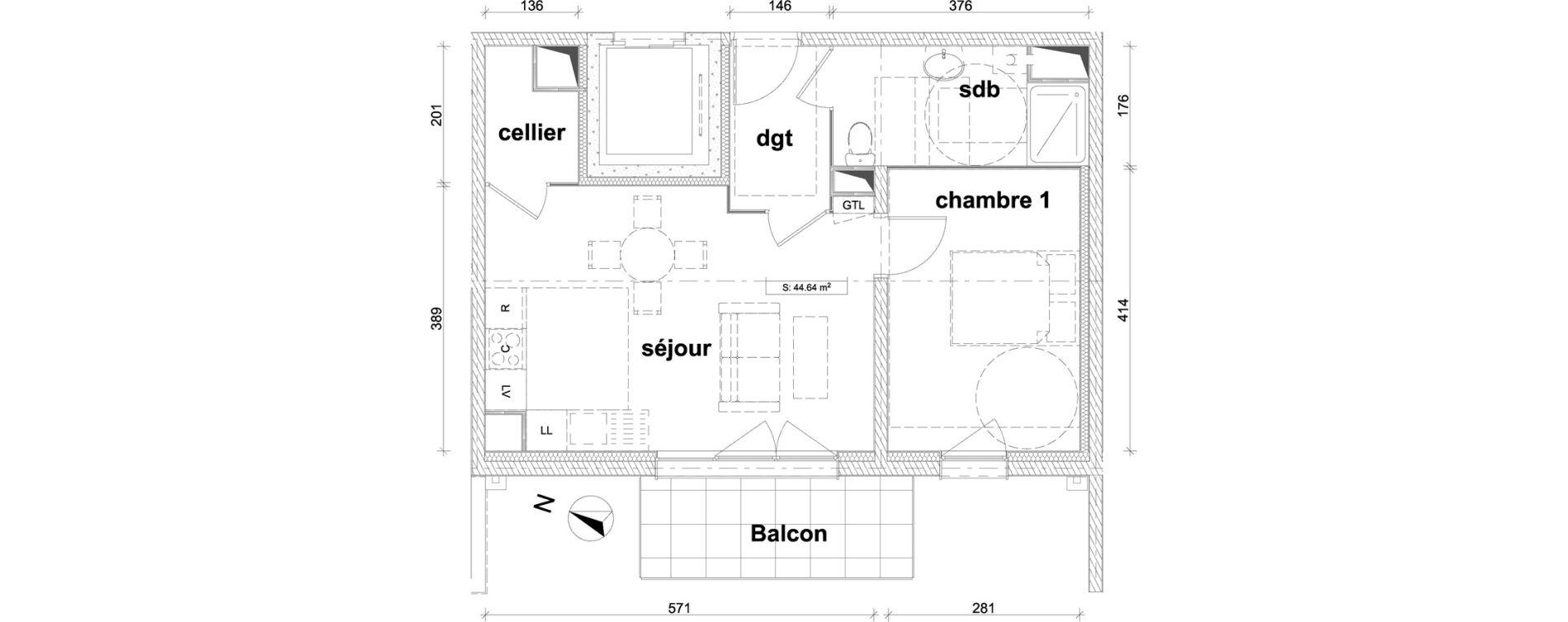 Appartement T2 de 44,64 m2 à Saint-Laurent-Blangy Centre