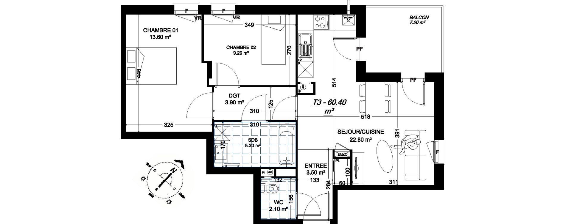 Appartement T3 de 60,40 m2 à Amiens Montières