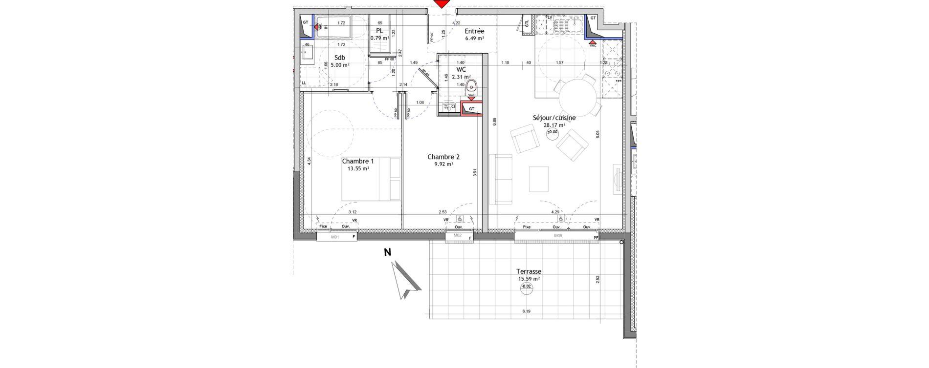 Appartement T3 de 66,23 m2 à Amiens Saint jacques - saint roch