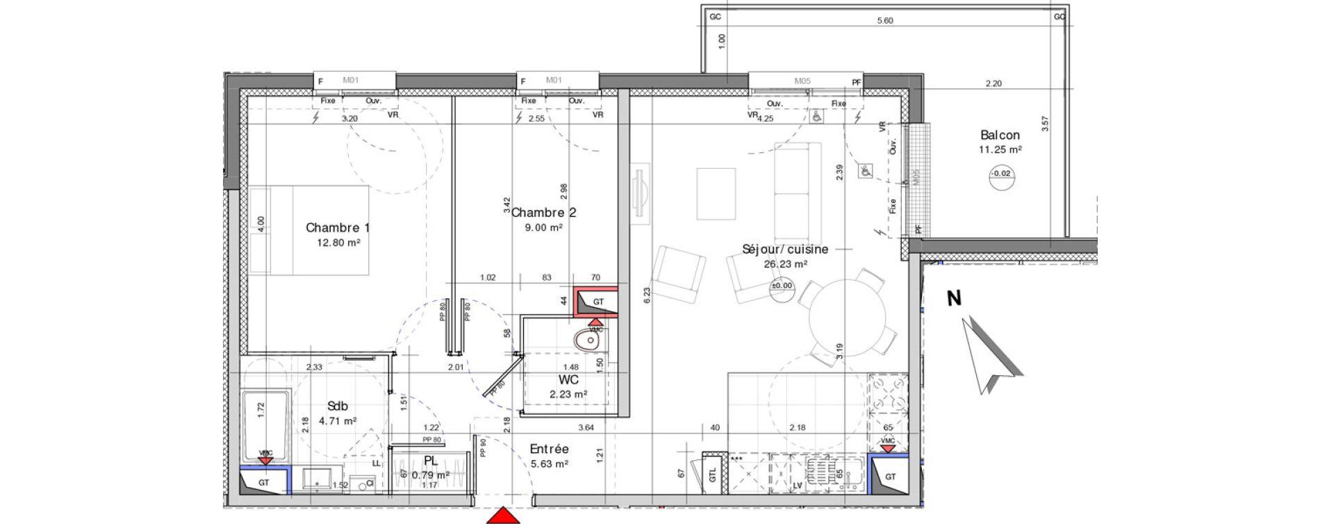 Appartement T3 de 61,39 m2 à Amiens Saint jacques - saint roch