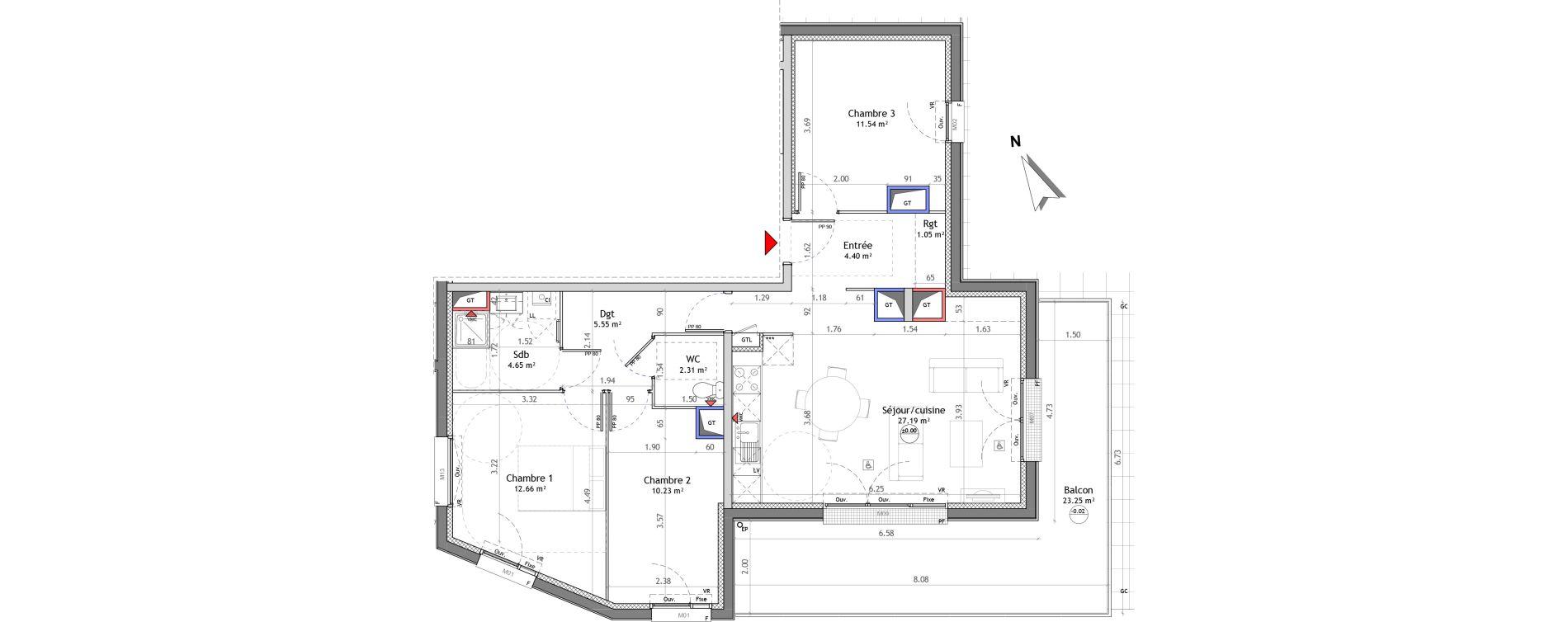 Appartement T4 de 79,58 m2 à Amiens Saint jacques - saint roch