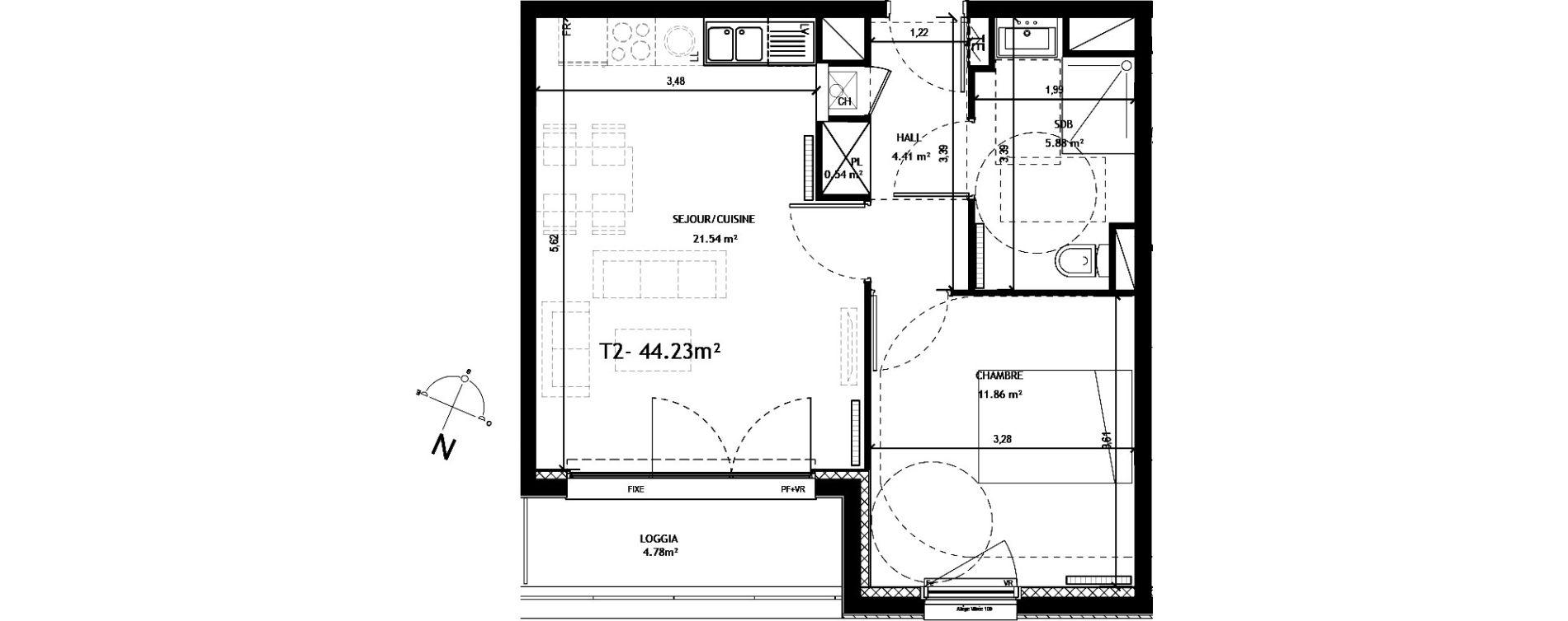Appartement T2 de 44,23 m2 à Amiens Saint honore - jeanne d arc
