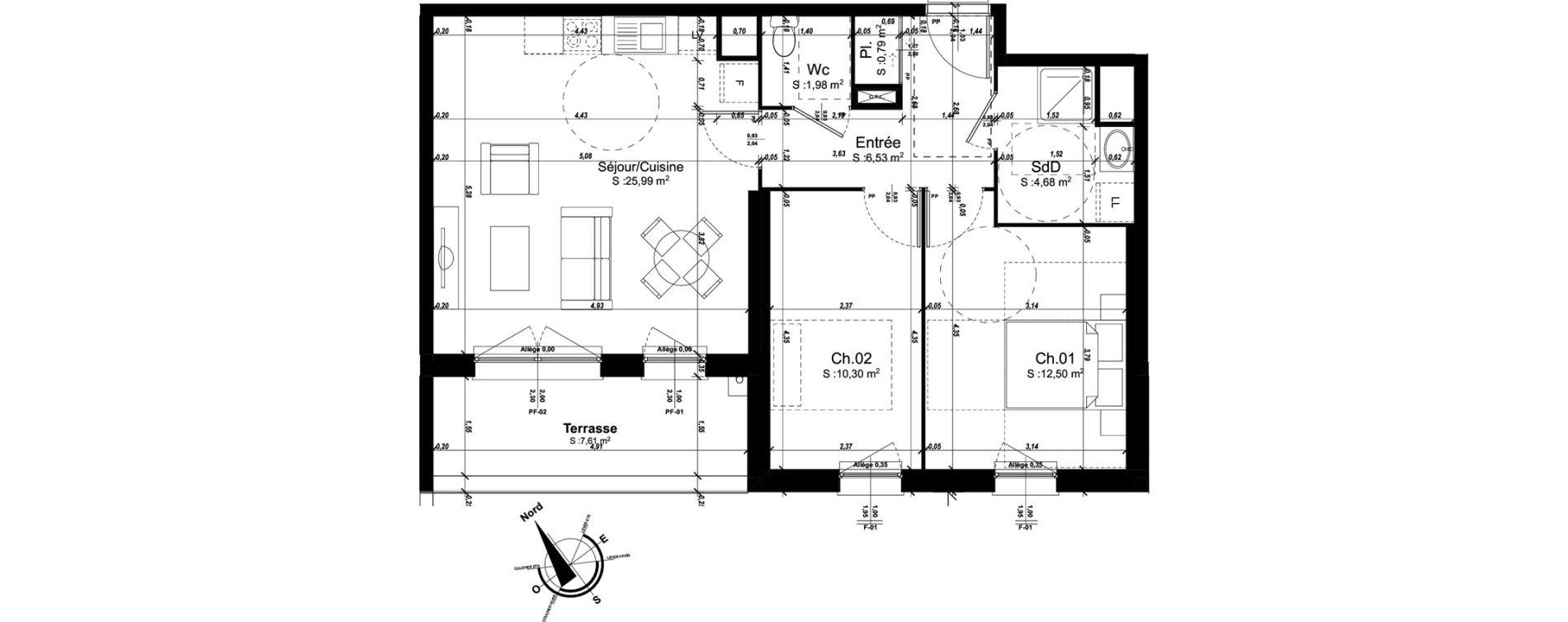Appartement T3 de 62,77 m2 à Amiens Intercampus