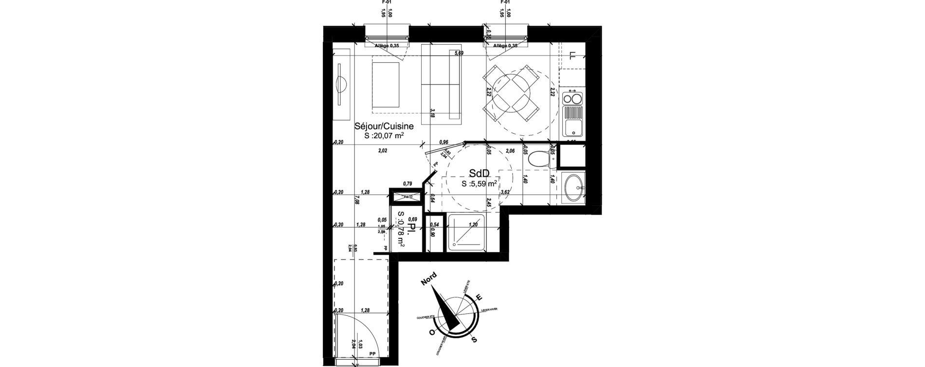 Appartement T1 de 26,44 m2 à Amiens Intercampus
